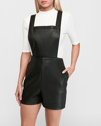 Express Faux Leather Overall Shorts Black