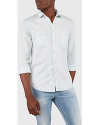 Express Slim Light Wash Double Pocket Denim Shirt Blue Xs