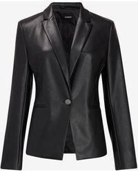 Express Faux Leather One Button Cropped Business Blazer Black Xxs