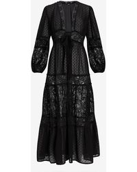 Express Swiss Dot Lace Pieced Kimono Cover-up Black
