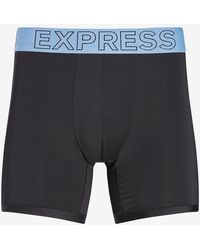 Express Solid Moisture-wicking Performance Boxer Briefs - Blue