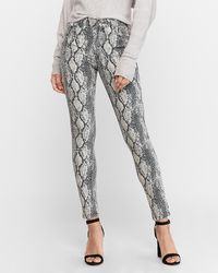Express High Waisted Snakeskin Print Ankle Leggings Black And White 00 Short