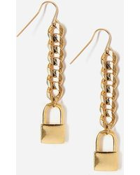 Express Tess + Tricia Gold Lock Drop Earrings Gold - Metallic