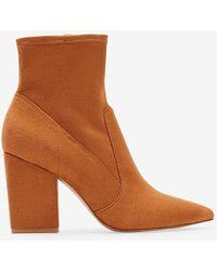 Express Block Heel Sock Booties Brown 5