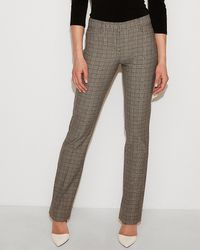 Express Mid Rise Plaid Barely Boot Columnist Pant Blue
