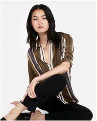 Express - Stripe Satin Y-neck Shirt - Lyst