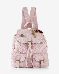 Express Quilted Embellished Drawstring Backpack - Pink