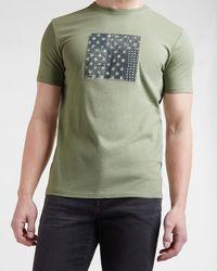 Express Green Patterns Graphic T-shirt Green M