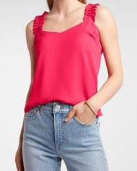 Express Ruched Strap Tank Pink L