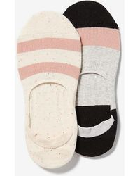 Express 2 Pack Color Block No-show Ankle Socks White