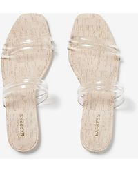 Express Double Strap Slide Sandals Neutral 7 - Natural