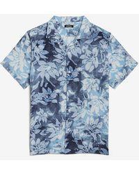 Express Slim Floral Rayon Short Sleeve Shirt - Blue