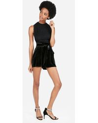 Express Super High Waisted Velvet Paperbag Shorts Black