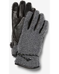 Express Sherpa & Genuine Leather Touchscreen Compatible Gloves Grey - Gray