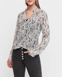 Express Slim Fit Sheer Snakeskin Print Ruffle Portofino Shirt - Multicolour