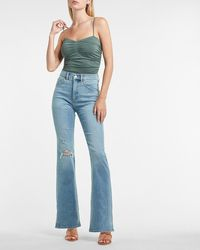 Express High Waisted Medium Wash Ripped Supersoft Bootcut Jeans, Size:4 Long - Blue