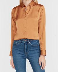 Express Satin Portofino Shirt Orange S