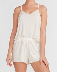 Express Supersoft Lace Trim Pyjama Short Ivory - White