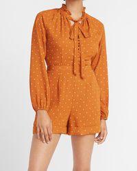 Express Ladygang Polka Dot Tie Neck Long Sleeve Romper Print - Orange