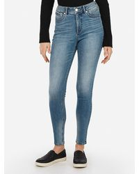 Express High Waisted Denim Perfect Curves Lift Ankle Skinny Jeans, Size:18 Short - Blue