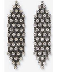 Express Rhinestone Waterfall Linear Drop Earrings - Black