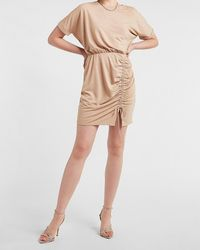 Express Cinched Tie T-shirt Dress Neutral S - Natural