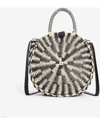 Express Striped Woven Circle Crossbody Tote - Black
