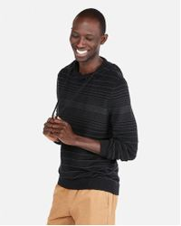Express - Textured Stripe Hooded Popover Sweater - Lyst
