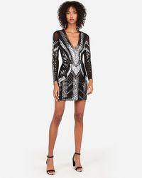 Express Sequin Deep V-neck Bodycon Dress Black
