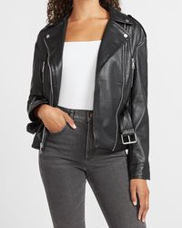 Express Faux Leather Belted Drop Shoulder Jacket Pitch Black