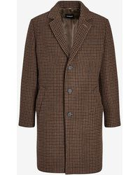 Express Brown Houndstooth Topcoat