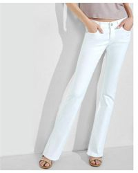 Express - White Low Rise Barely Boot Jeans - Lyst