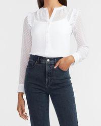 Express Clip Dot Ruffle Shoulder Portofino Shirt White