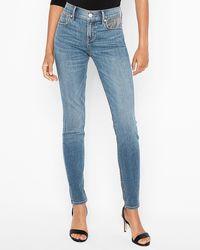Express Mid Rise Glitter Pocket Ankle Leggings Blue