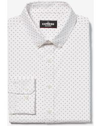 Express Slim Printed Wrinkle-resistant Performance Dress Shirt - White