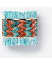 Express Chevron Seed Bead Fringe Cuff - Blue