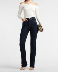 Express High Waisted Dark Wash Bootcut Jeans, Size:6 Petite - Blue