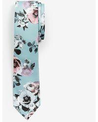 Express Narrow Floral Tie Green Reg