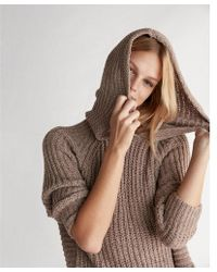 Express   Extreme Circle Hem Cozy Chenille Hooded Sweater   Lyst