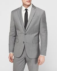 Express Classic Grey Wool-blend Performance Stretch Suit Jacket Grey 36 Short - Gray