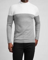 Express Colour Block Rayon Stretch Mock Neck Jumper - Grey