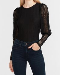 Express Lace Puff Sleeve Top Pitch Black
