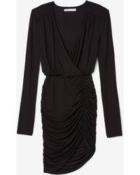 5f24db35bd Express - Olivia Culpo Asymmetrical Surplice Dress Black - Lyst