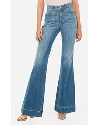 Express High Waisted Light Wash Bell Bottom Flare Jeans, - Blue