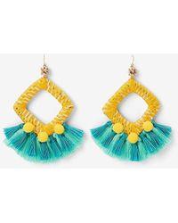 Express Wrapped Tassel Pom Earrings - Blue