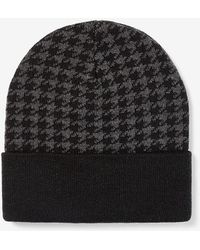 Express Houndstooth Knit Turnback Beanie Black