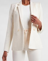 Express Metallic Double Breasted Boucle Cropped Business Blazer Ivory - White