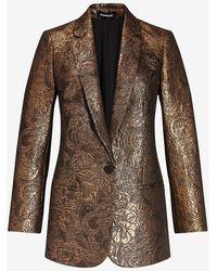 Express Metallic Oversized Jacquard Cropped Business Blazer Gold