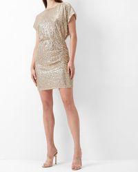 Express Ruched Sequin T-shirt Dress Desert Khaki - Natural