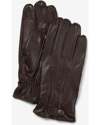 Express Genuine Leather Touchscreen Compatible Gloves Brown S/m - Metallic